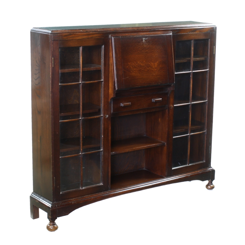 glazed oak art deco display cabinet writing table desk bureau bookcase 1900 1950 ebay. Black Bedroom Furniture Sets. Home Design Ideas