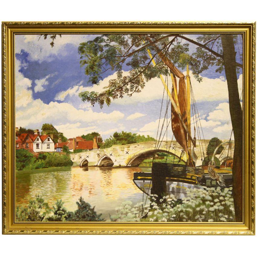 Mid Century Landscaping: Framed Original Mid Century Landscape Oil Painting River