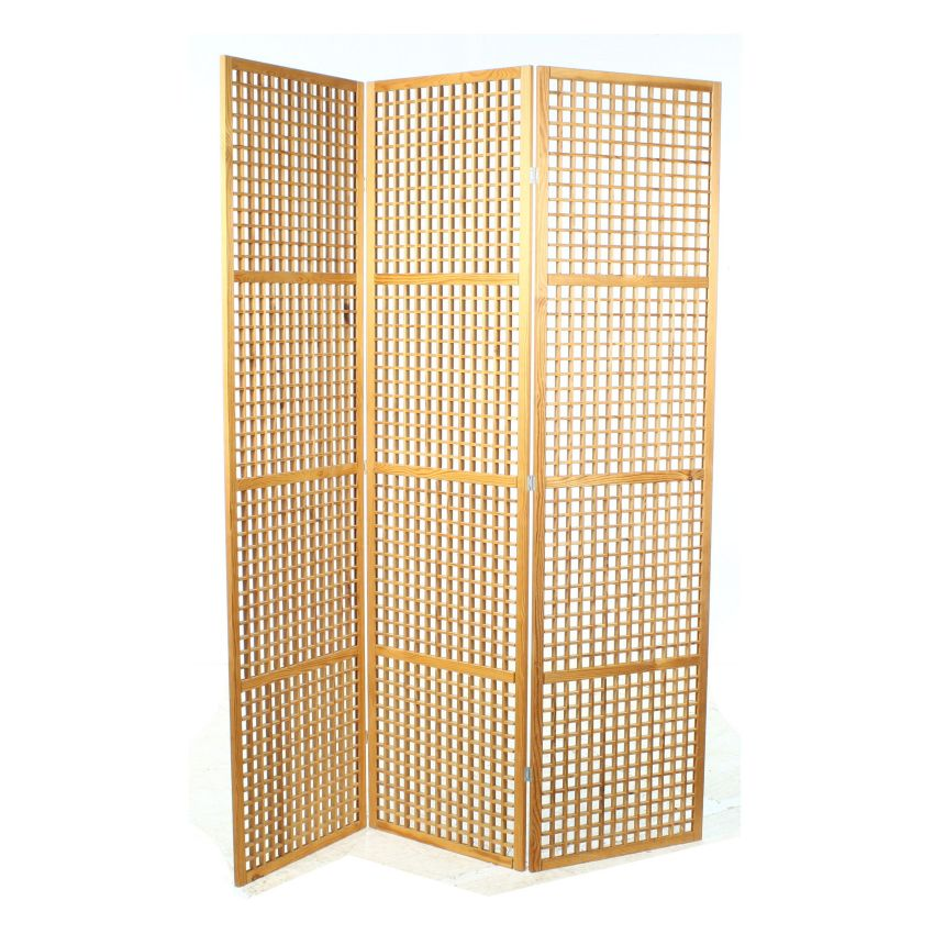 Contemporary Pine Lattice Folding Screen Room Divider
