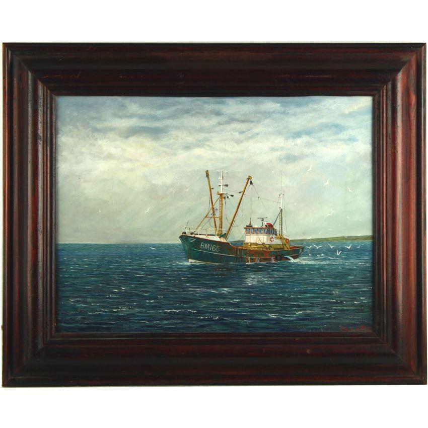 chalutier perche bateau de p che bm165 marrtje brixham peinture l 39 huile x. Black Bedroom Furniture Sets. Home Design Ideas