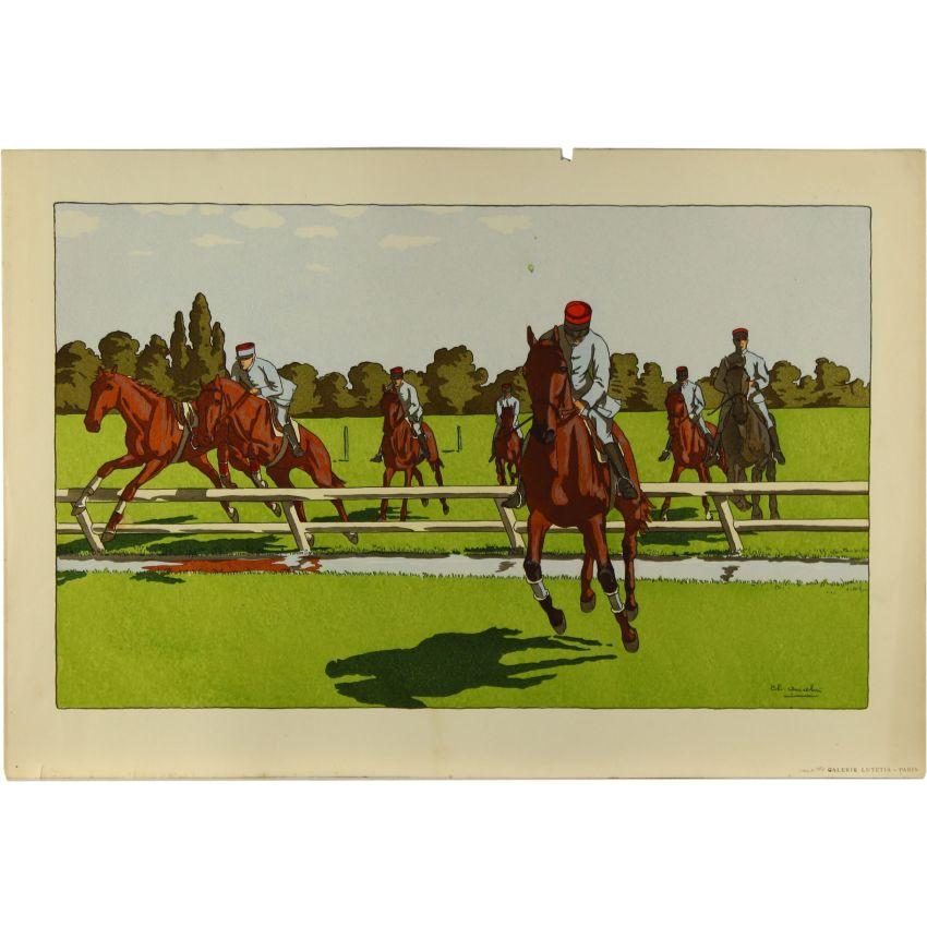 Original french art deco pochoir stencil print horse for Pochoir deco