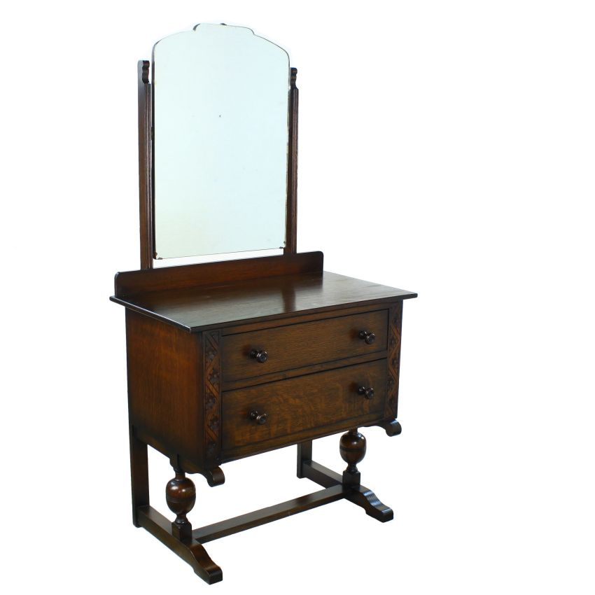 Art Deco Period Solid Oak Two Drawer Dressing Vanity Table Mirror EBay