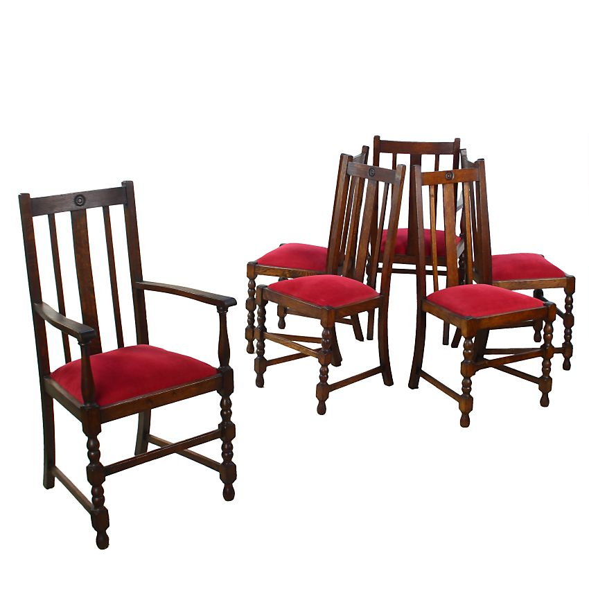 Traditional Upholstered Dining Chairs ~ Six traditional upholstered oak slat back dining chairs ebay