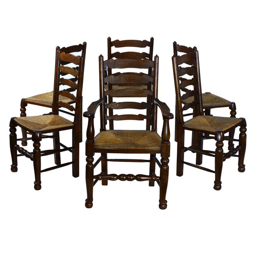 Traditional English Solid Oak Ladder Back Rush Seat Set 6