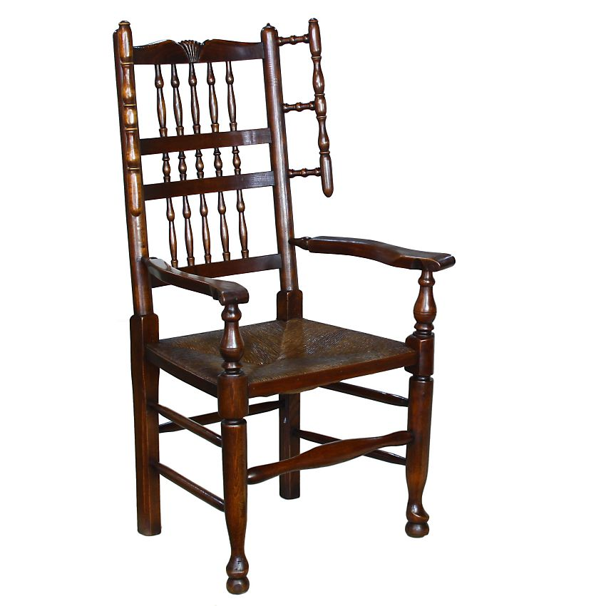 Traditional Lancashire English Country Oak Elm Fireside Carver Armchair Chair: Image 1