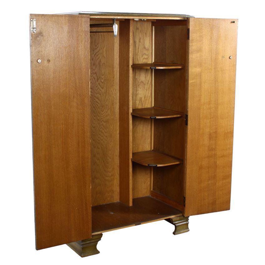 art deco carved oak green stained limed gents fitted. Black Bedroom Furniture Sets. Home Design Ideas