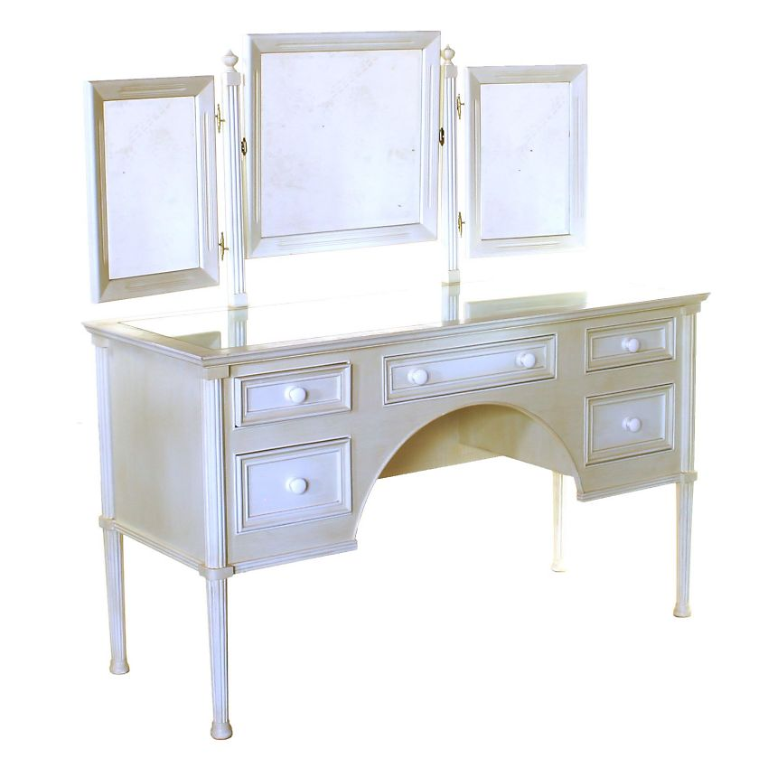 Contemporary Regency Design White Cream Painted Mirror Vanity Dressing Table