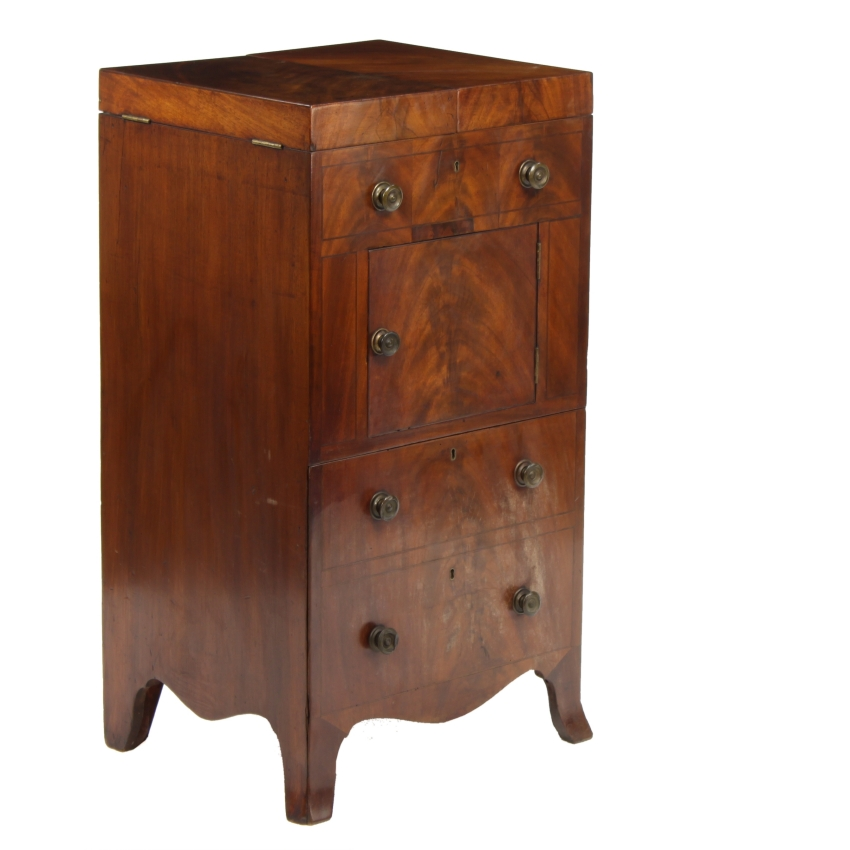 georgian antique flame mahogany commode washstand. Black Bedroom Furniture Sets. Home Design Ideas