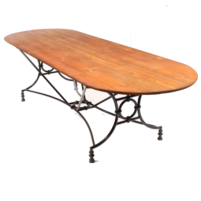 Large Wrought Iron Pine Conservatory Patio Dining Table Image 1