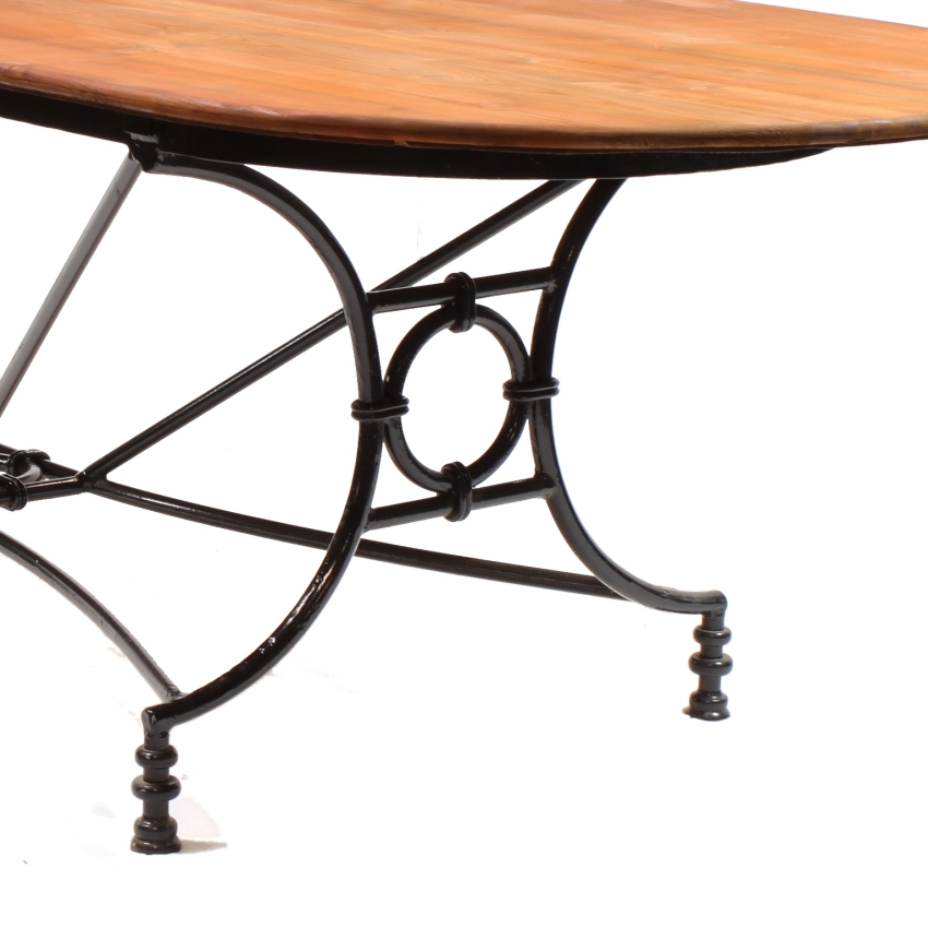 Large Wrought Iron Pine Conservatory Patio Dining Table Image 2