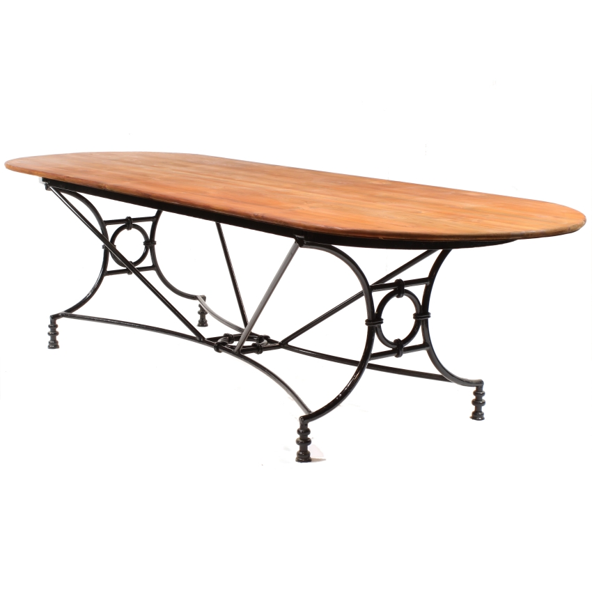 Large Wrought Iron Pine Conservatory Patio Dining Table Image 3