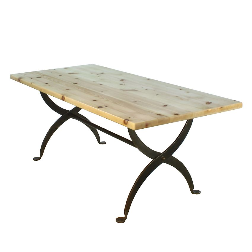 Spanish pine x frame wrought iron contemporary for Dining table frame